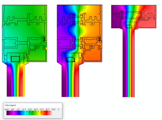 three thermal images