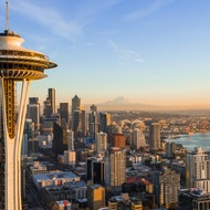Seattle skyline with Space Needle in foreground.