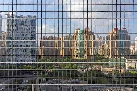 facade glass grid with reflections