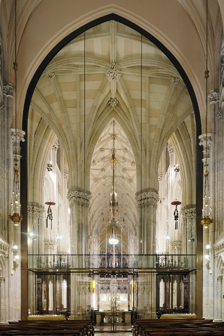 Figure 1 View of Lady Chapel glass wall from nave