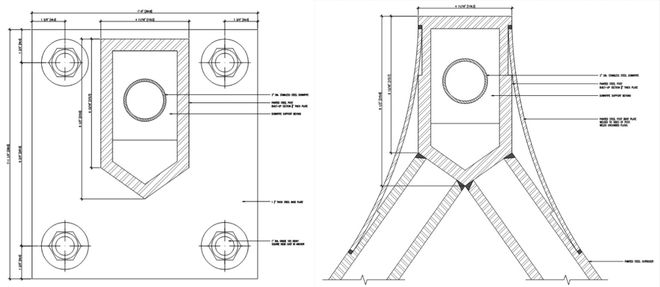 Figure 12 Details of steel posts at the base and at the top connection with the outriggers