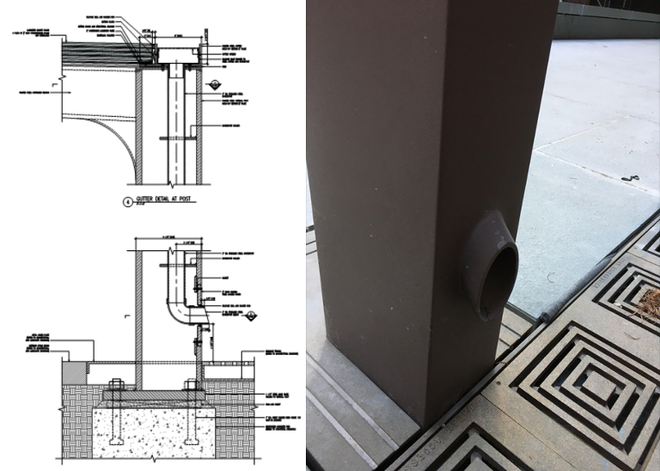 Figure 14 Detail and photo of integrated downspout