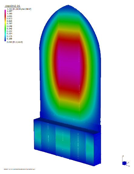 Figure 4 FEA deflection plot of glass wall