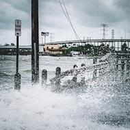 water on highway road flood