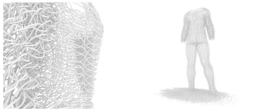 "Figure 18. Exploration of digital crochet wrapping over the form of a human male using Rhino 3d/ Grasshopper. Once the parametric model is ""baked,"" it is no longer parametrically pliable."
