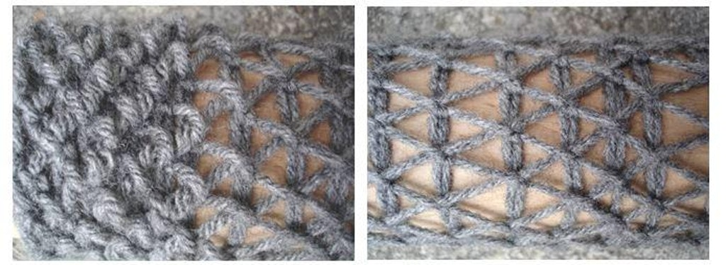 Figure 24: Stretching experiments (over rolling pin) using a slipstitch crochet in acrylic thread results in a reorganization of the crochet structure similar to that of a triangulated grid.