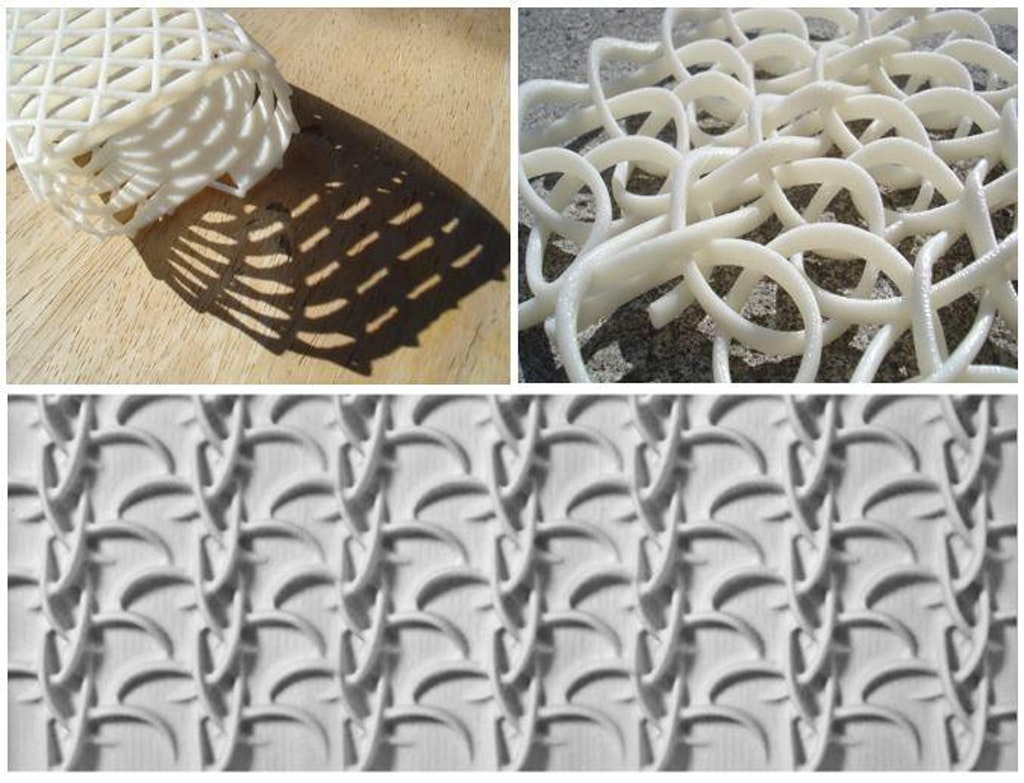 Figures 45-47: Experiments in the use of 3D printing and CNC milling of the digital crochet model. Semper's theory of Transmaterilization in action.