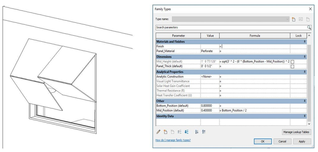 Figure 5: Revit kinetic façade family (left) and parameters of the foldable panel (right)