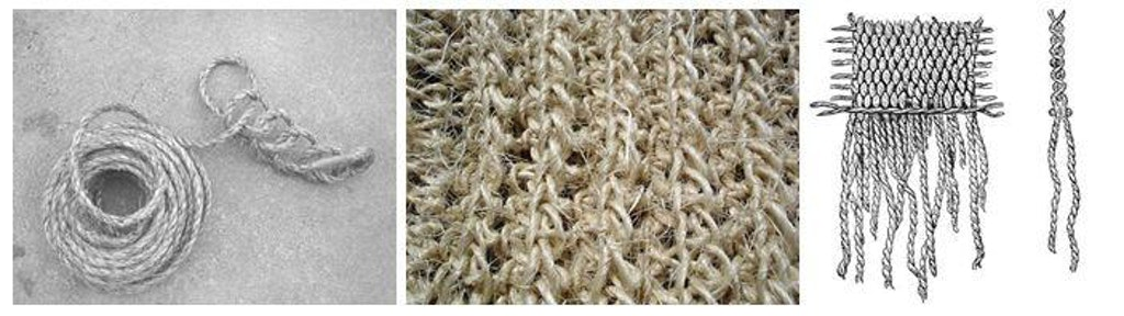 Figure 8 (Left). Naalebinding using manila rope. Figure 9 (Center). Naalebinding using sisal. Figure 10 (Right). Untied fringe from a woven textile.